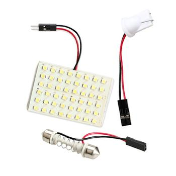 DC 12V 48 LED SMD / SMT 1206 Chip Car Roof Light with T10 Adapter Festoon Base 5000K White Auto Interior Lamp Panel Bulb image