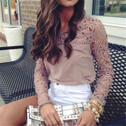 Fashion Women Summer Stitching T-shirt 2019 New Elegant Woman Loose Casual Summer Long Sleeve Tees Tops Lace Hollow Out T Shirt