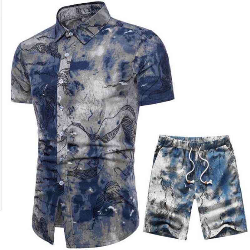 Image 5 - 19Men's belted shorts floral shirt set spring casual shirt belted shorts ensemble short sleeve floral shirt with shorts M  5XL-in Men's Sets from Men's Clothing