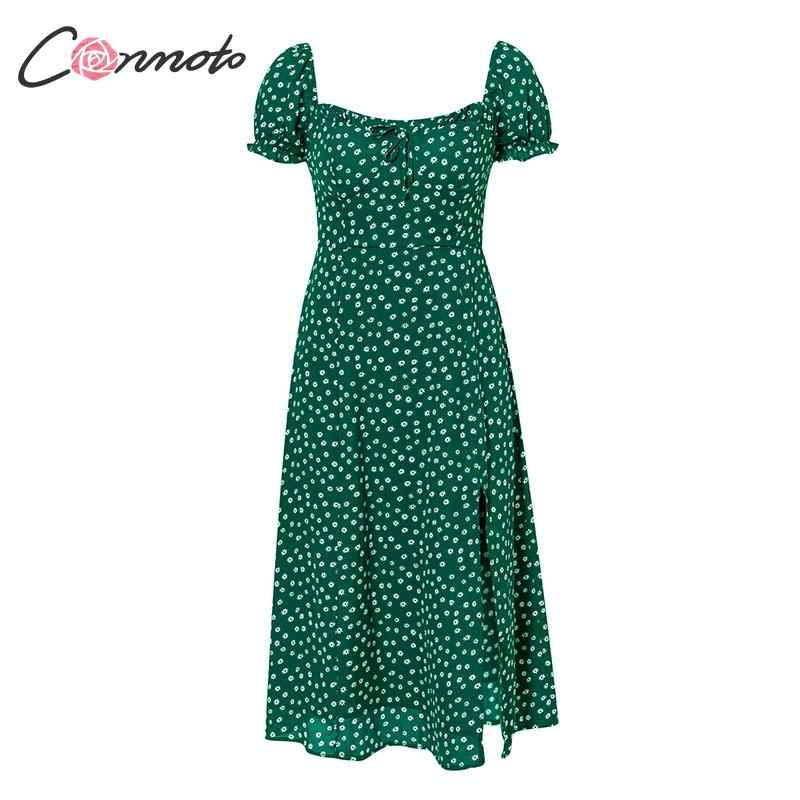 Conmoto 2019 летние Винтаж вечерние платье с квадратным вырезом и оборками элегантное сексуальное пляжное платье, женские зеленые платья среднего размера, Vestidos