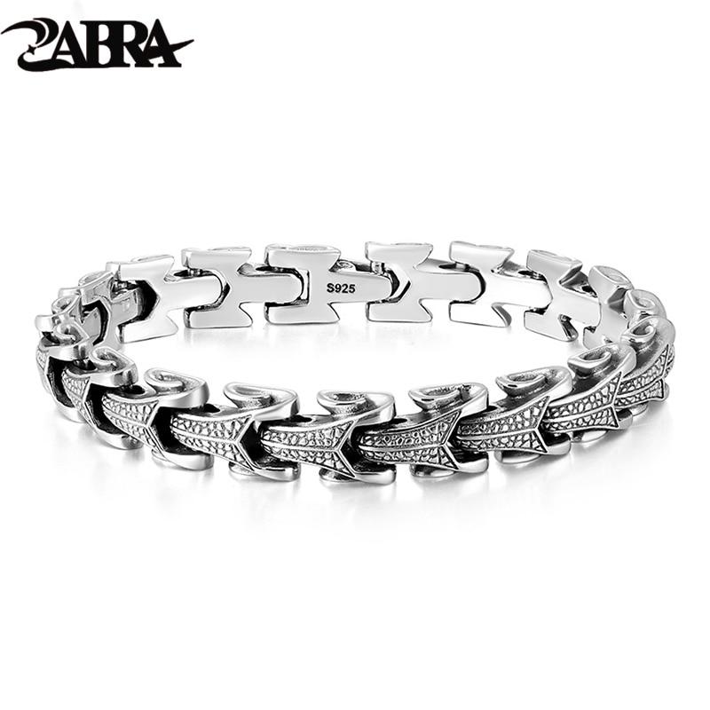 ZABRA Gothic Solid 925 Sterling Silver Dragon Bracelet Men High Polished Vintage Punk Rock Biker Keel