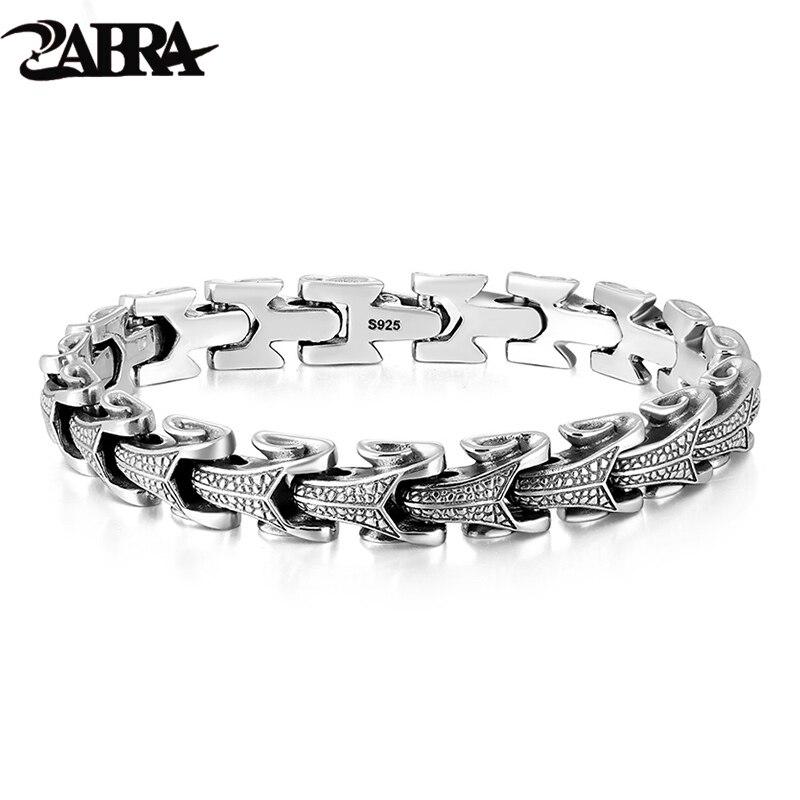 ZABRA Готический серебро 925 пробы дракон браслет для мужчин полированный Винтаж Панк Рок Байкер Киль браслеты украшения для