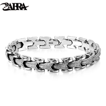 ZABRA Gothic Solid 925 Sterling Silver Dragon Bracelet Men High Polished Vintage Punk Rock Biker Keel Bracelets Jewelry For Male