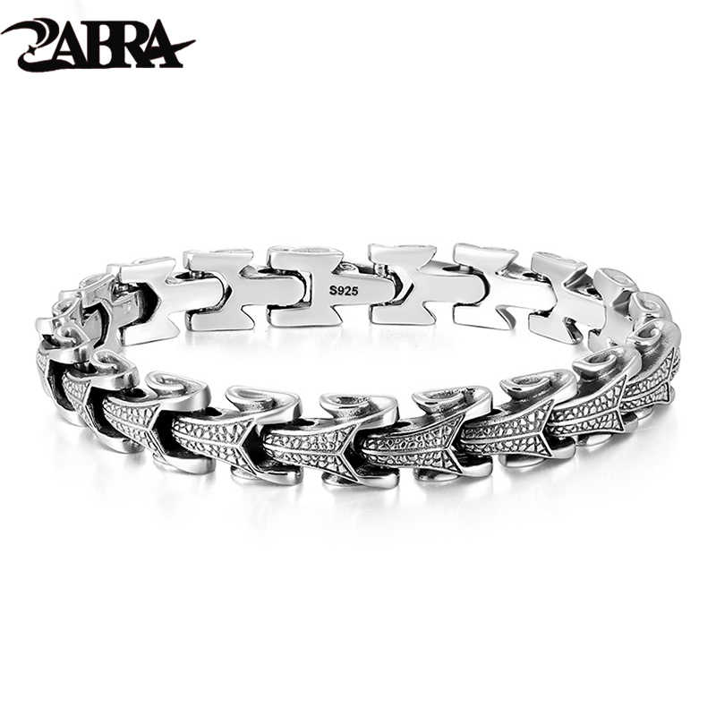 5af9fb740518c0 ZABRA Gothic Solid 925 Sterling Silver Dragon Bracelet Men High Polished  Vintage Punk Rock Biker Keel