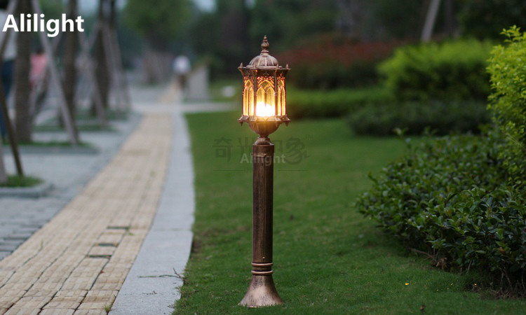 Europe Bronze Cottage Garden Lawn Pole Lamp Aluminum+glass Waterproof Outdoor Lighting Backyard Landscape Lighting E27 Fixtures