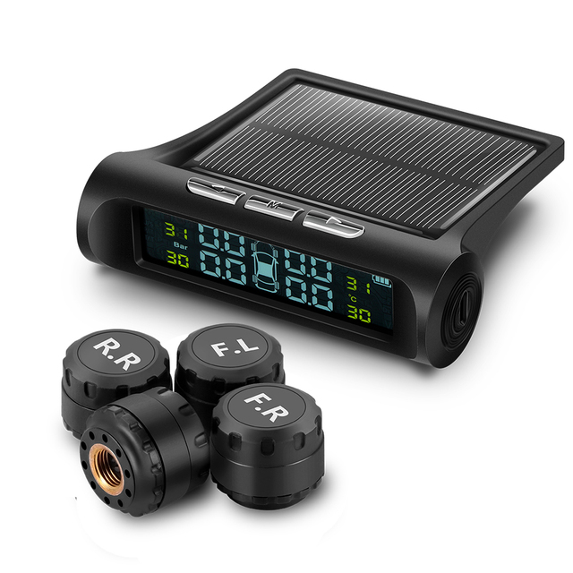 TPMS Sistema de Monitoramento de Pressão Dos Pneus do carro de carregamento de Energia Solar Digital Lcd Sistemas de Alarme De Segurança Auto