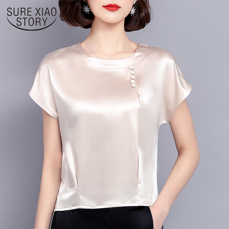 2018 new fashion summer clothing women tops solid loose silk short sleeved blouses casual o-neck female blouses shirts 0425 40