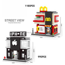 hot LegoINGlys city creators Street view Apple flagship store McDonald shop Micro diamond Building Block model bricks toys gift