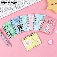 Купить с кэшбэком EZONE Mini Coil Notebook Plane Cactus Words Cartoon Cat Loose Leaf Memo Pad Kawaii Funny Notebook School Office Supply
