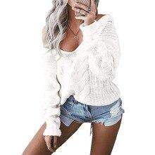 Женские сексуальные свитера с v-образным вырезом, свободные свитера с открытыми плечами, джемпер, мягкий теплый вязаный свитер с открытым передом, топы с длинным рукавом, трикотаж