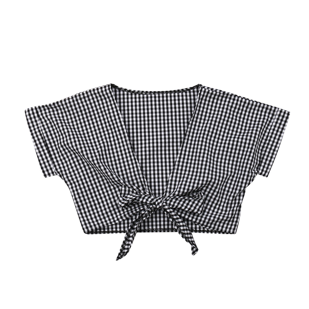 Women's Clothing 2019 Women Fashion Plaids V-neck Short Blouse Lady Girls Casual Top Blouses Ladies Slim Crop Tops Shirts We Take Customers As Our Gods