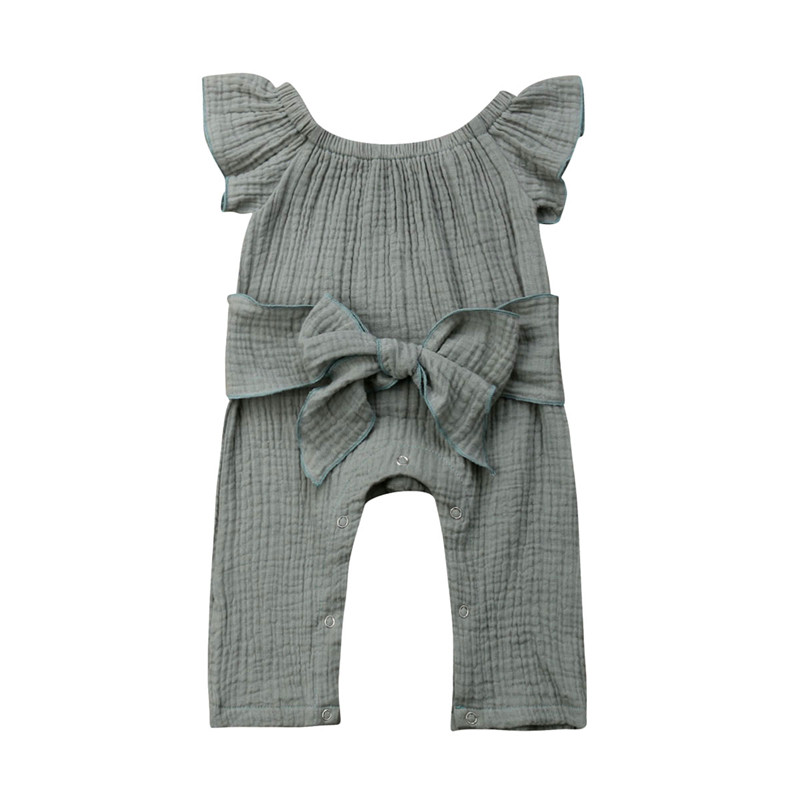 0-24M Casual Toddler Kids Baby Girls Off Shoulder   Romper   Short Sleeves Solid Jumpsuit Bow Belt Sunsuit Baby Girl Cotton Clothes