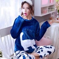 Осень-зима Для женщин Пижамные комплекты толстые теплые коралловые бархатные пижамы костюм фланель с длинным Pijama Mujer с надписью Животного Пижамы