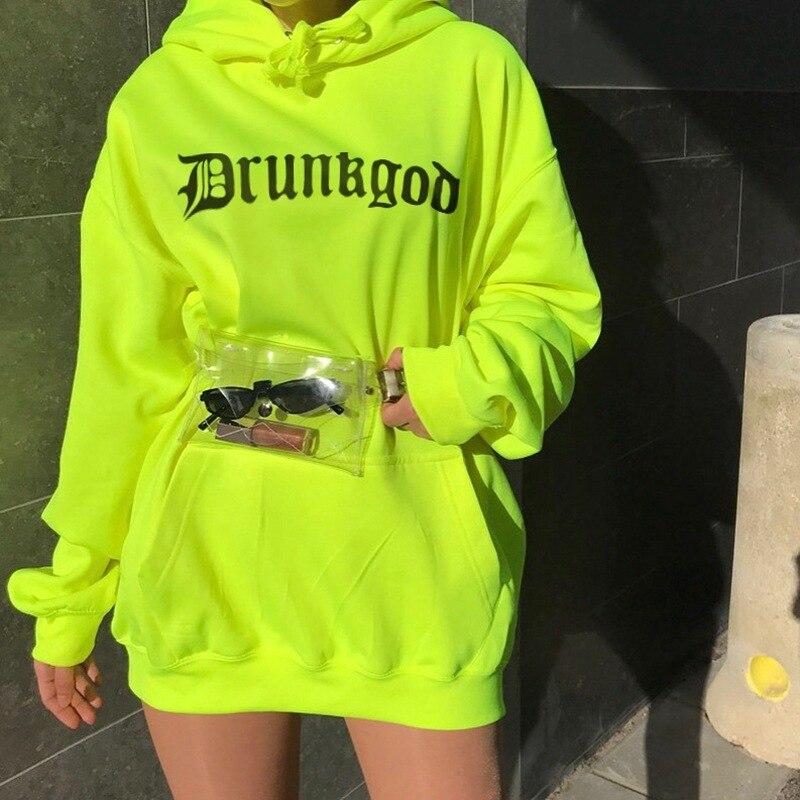New Female Print Streetwear Sports Oversized Vestido Pullovers Hoodie Sweatshirts