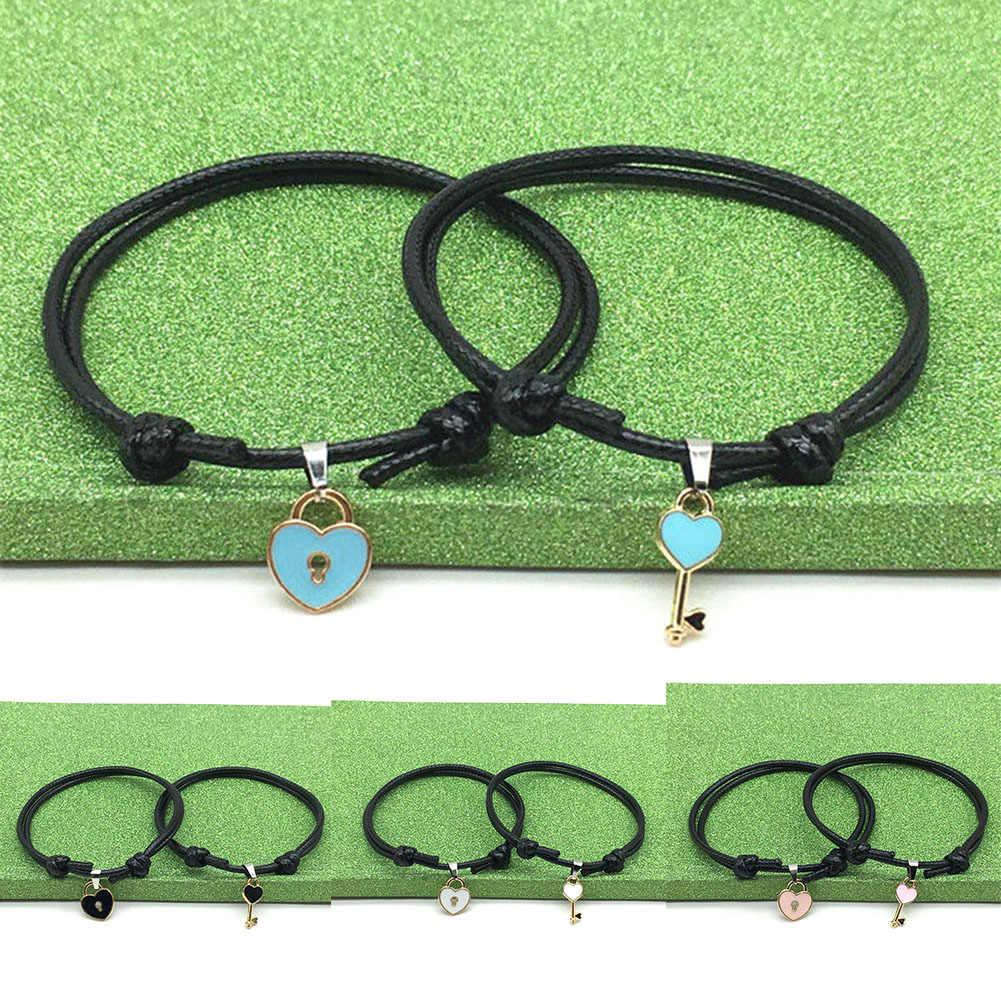 2 יח'\חבילה מפתח לב נעילת צמיד אישה תכשיטי חבל צמיד אוהבי מתנה