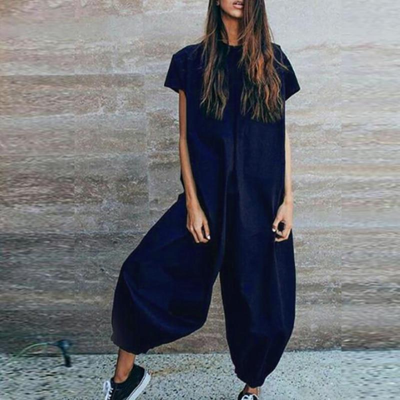 Plus Size Women Summer   Jumpsuits   Oversized Casual Baggy Harem Pants Female Short Sleeve Linen Overalls Lady Combinaiso Pantalon