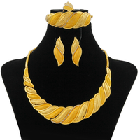 Dubai African Jewelry Sets Crystal Gold Necklace Set Yellow Light Golden Nigerian Jewellery Set for Women