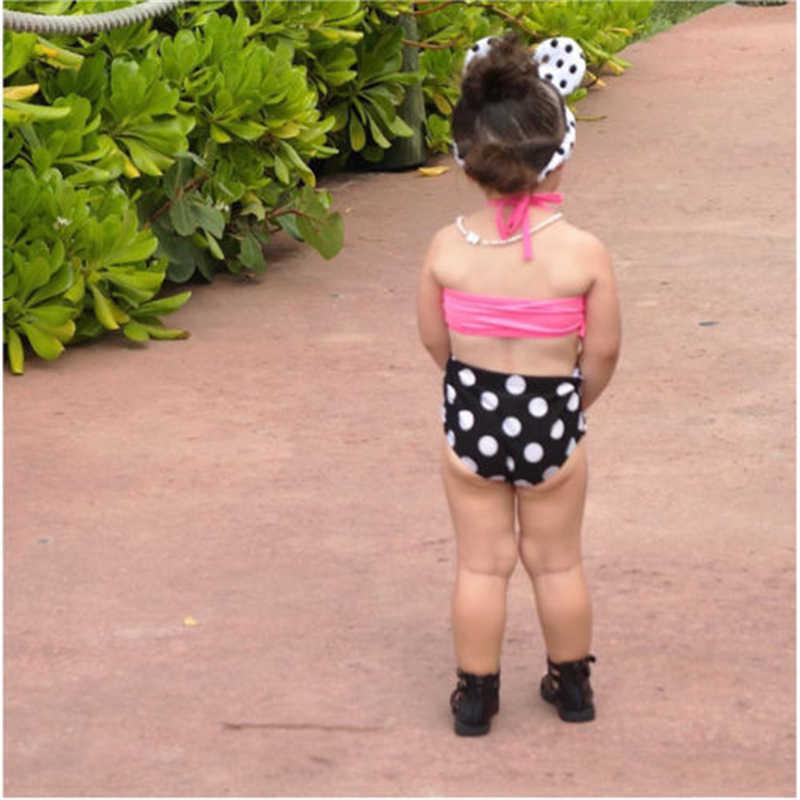 Niños bebé niña traje de baño Tankini Bikini Set nuevo bebé niña ropa dulce Falbala traje de baño Dot pantalones cortos