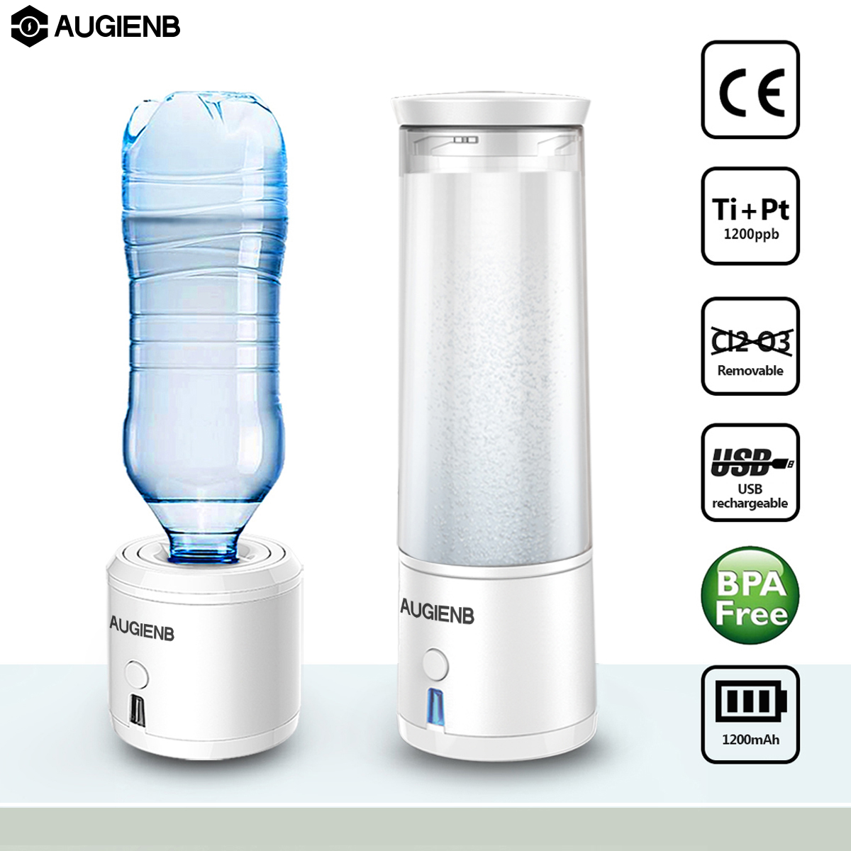 AUGIENB SPE PEM Membrane H2 Rich Hydrogen Water Bottle Electrolysis Ionizer Generator USB Rechargeable removal O3