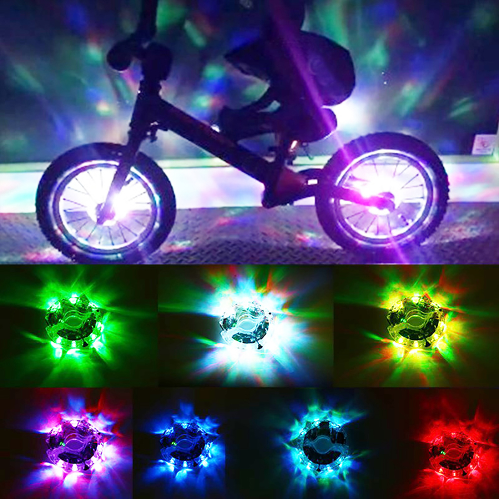 Bike Wheel Hub Lights Waterproof USB Rechargeable LED Cycling Bicycle Lights Colorful Spoke Lights for Safety Riding Warning