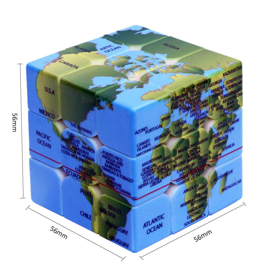 3x3x3 рисунок земли волшебный куб головоломка на скорость куб для обучения мозгу для взрослых детей игровой комплект