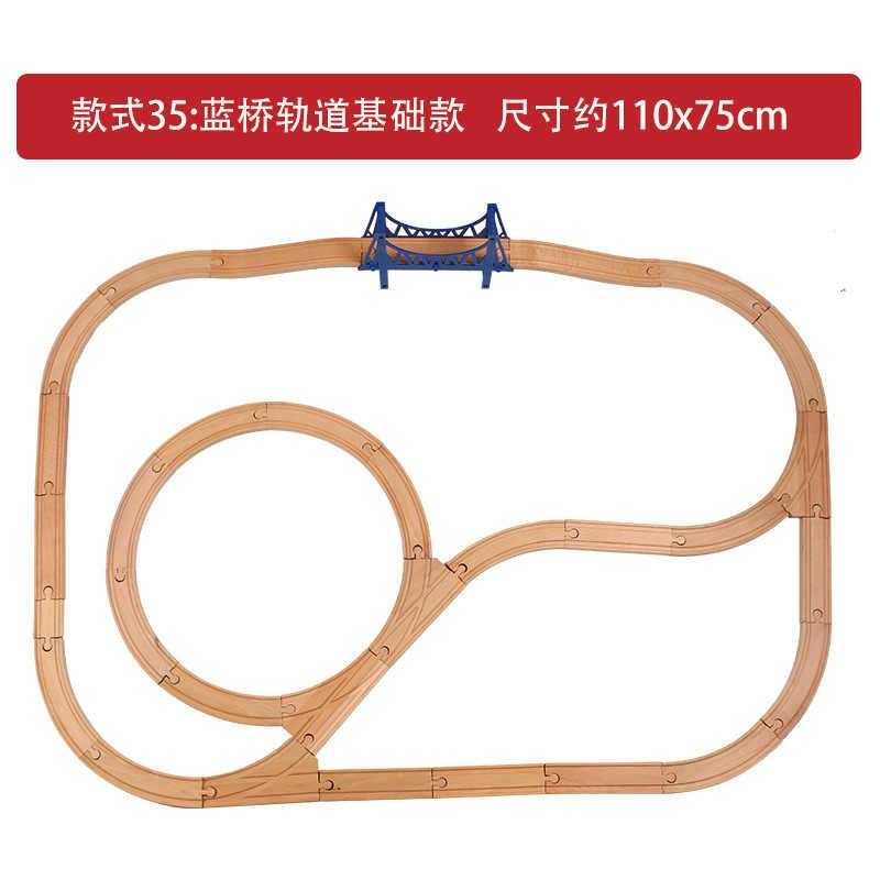 2019 Новый Деревянный Железнодорожный прямой и изогнутый экспансионный трек Take-n-Play моторизованный Электрический поезд деревянный Паровозик трек набор Brio