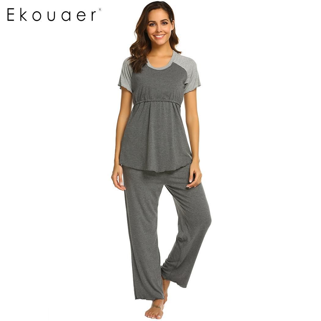 Ekouaer Nighties Sleepwear Women Casual   Pajama     Sets   O-Neck Short Sleeve Maternity Breastfeeding   Pajamas     Set   Comfortable Homewear