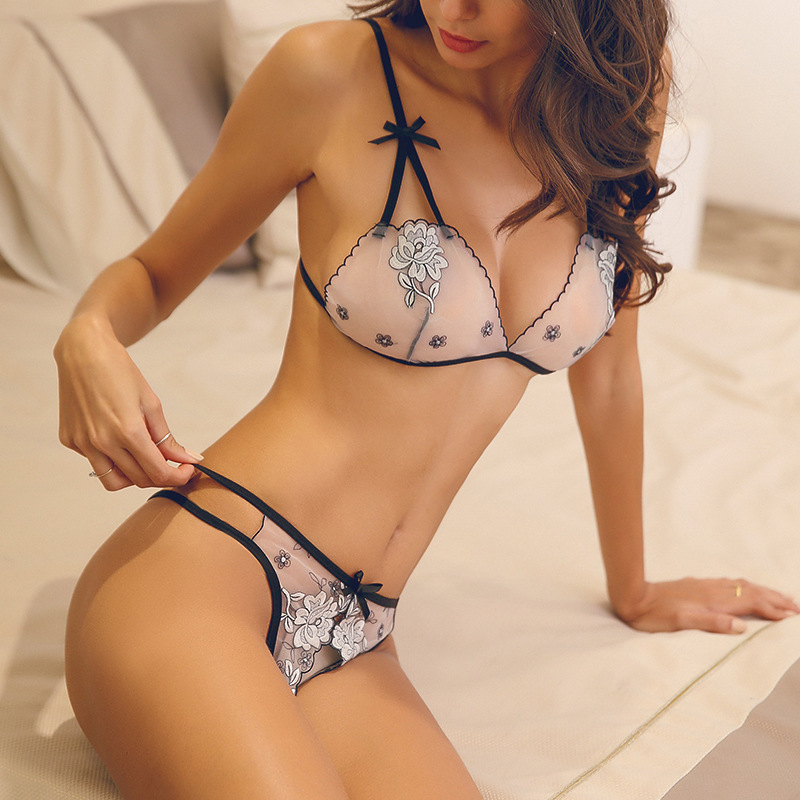 Image 2 - Fluorescence Ultra thin French Women Lace Embroidery Sexy Bra Open Crotch Panty Underwear Set Three point Thong Lingerie Suit-in Bra & Brief Sets from Underwear & Sleepwears