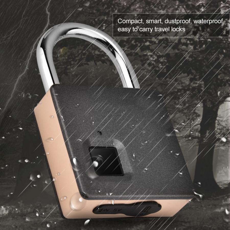 Image 3 - Smart Door Lock Metal Fingerprint Door Lock Padlock Stainless Steel Biometric Portable Outdoor Padlock Dustproof Waterproof LockElectric Lock   -