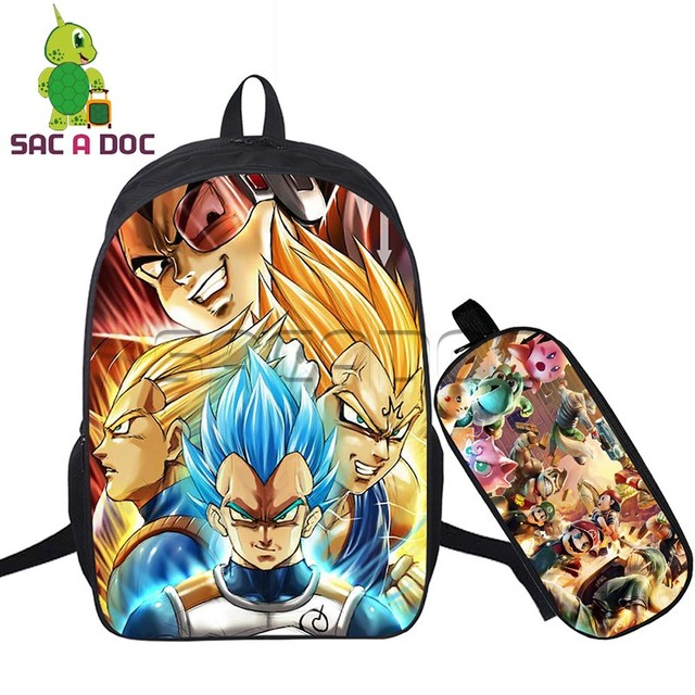 Anime Dragon Ball 2 Pcs Set Backpack Boys Girls Goku Vegeta Trunks
