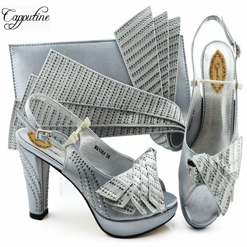 Capputine Silver Color Fashion Wedding Shoes And Bag Set Latest African Style Women Pumps Shoes And Bag To Match Set For Party