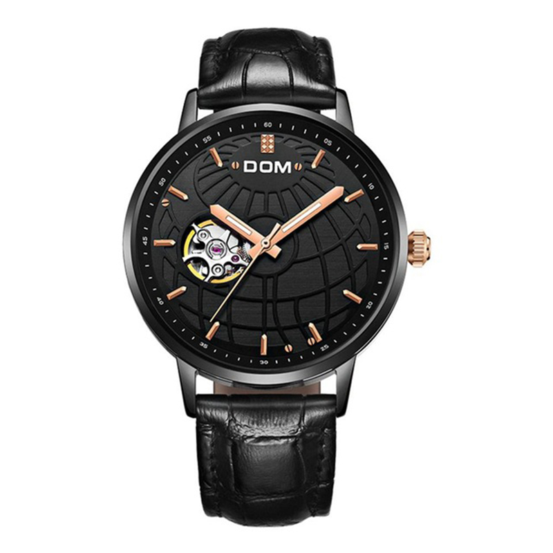 DOM Mens Mechanical Leather Watch Hollow Automatic Waterproof Retro Elegant Quartz Sports Business WatchDOM Mens Mechanical Leather Watch Hollow Automatic Waterproof Retro Elegant Quartz Sports Business Watch