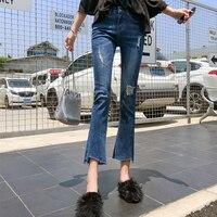 CTRLCITY Asymmetrical Women Jeans Female Denim Flare Pants Women Jeans Ripped Stretch Pants Women Vintage Scratched Trousers