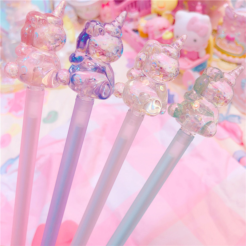 1PC Novelty Crystal Gel Pens Cute Unicorn Pens Kawaii Neutral Pens For Kids Gifts School Office Supplies Korean Stationery