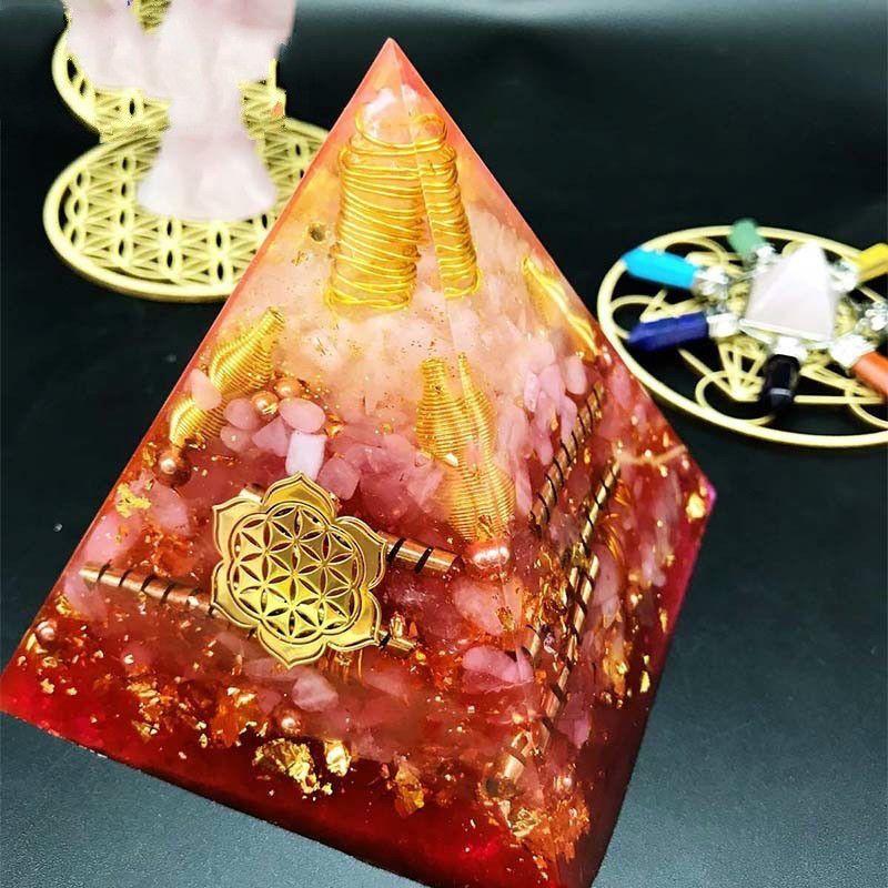 AURA REIKI Orgonite Pyramid Anahata Chakra Ariel Emotional Regulation Pink Crystal Resin Crafts Glamour Jewelry For Women C0151