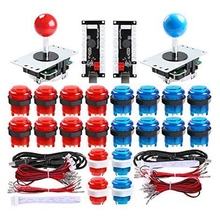 2 Player Led Arcade Diy Parts 2X USB Encoder + 2X Joystick + 20x Led Arcade Buttons For PC, Mame, Raspberry Pi, Windows (Red & 2 players diy arcade joystick kits with 20 led arcade buttons 2 joysticks 2 usb encoder kit cables arcade game parts set