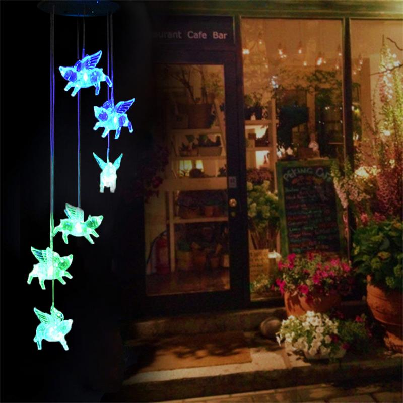 Colorful LED Solar Pig Shaped Wind Chime Garden Decoration Aeolian Bells Home Garden Festival Decoration