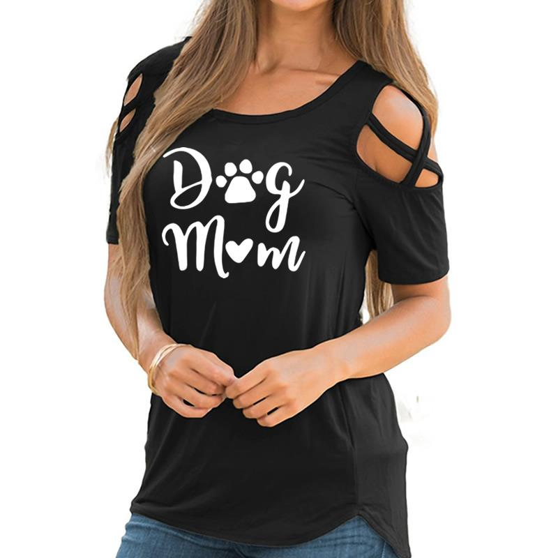 2019 New Fashion Dog Mom Print Tshirt Casual Short Sleeve Plus Size T-Shirt Female Cotton Cute Tops for Woman