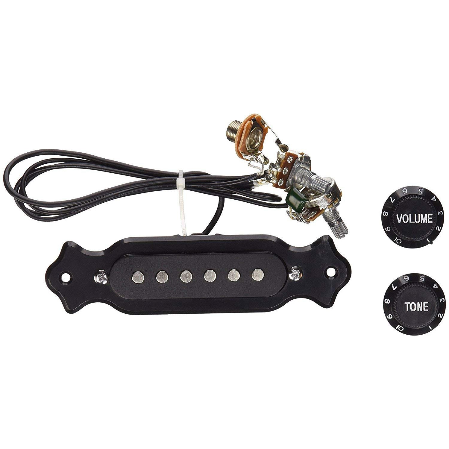 Pre-Wired 6-String Single Coil Pickup Harness with Volume & Tone Pots for Electric Cigar Box Guitar Electric Cigar Box Guitar