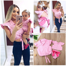 Family Matching Outfit Mother & Daughter Tops Baby Girl Romper Plaid Clothes