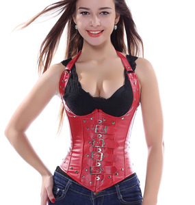 Image 4 - Gothic Straps Faux Leather Underbust Corset Spiral Steel Boned Clubwear Lingerie Push Up Bustier S 2XL