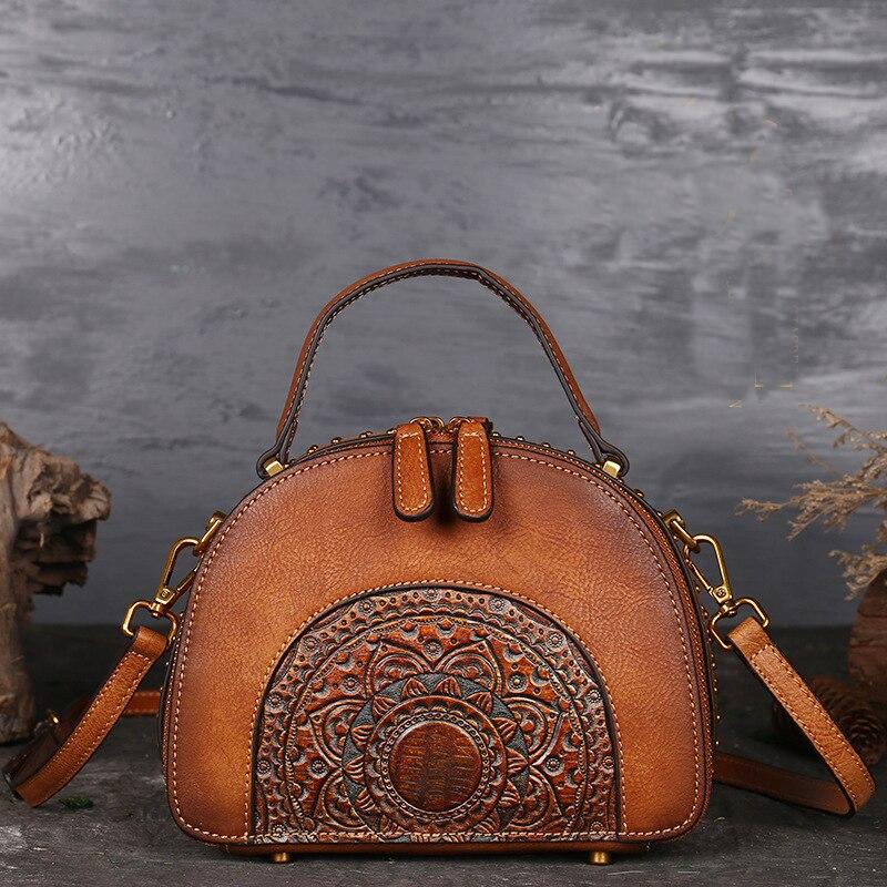 High Quality Genuine Leather Women Shoulder Tote Embossed Bags Retro Totem Pattern Natural Skin Handbag Top