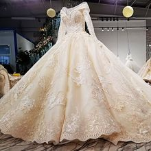 Vivian's Bridal 2018 Autumn Winter Pearls And Floral Print Wedding Gown Long Sleeve Lace-up 1m Train Champagne Bridal Dress