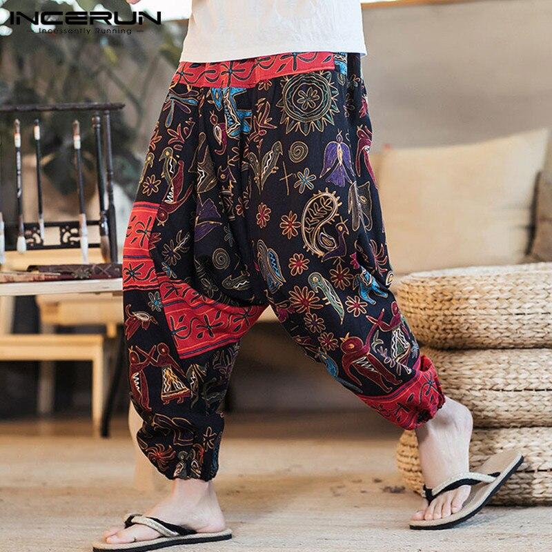 INCERUN Plus Size Retro Men Harem Pants Print Cotton Drop Crotch Trousers Men Joggers Casual Loose Nepal Style Pants Hombre 2020