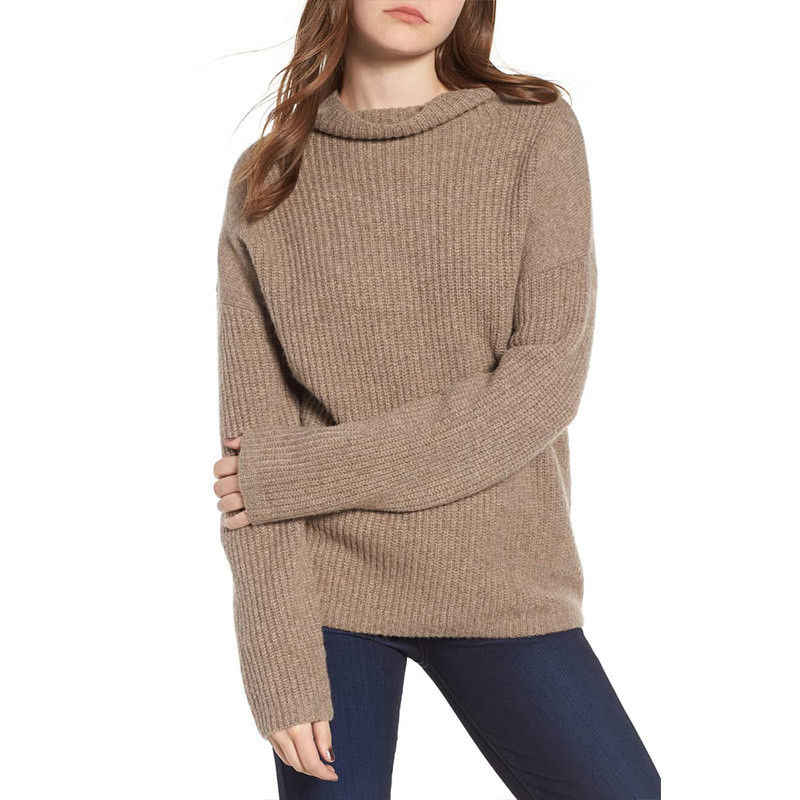 20fc3a8a47f29d ... Women Hot Red Sweater Pullover Basic Rib Knitted Cotton Tops Solid  Turtlneck Essential Jumper Long Sleeve