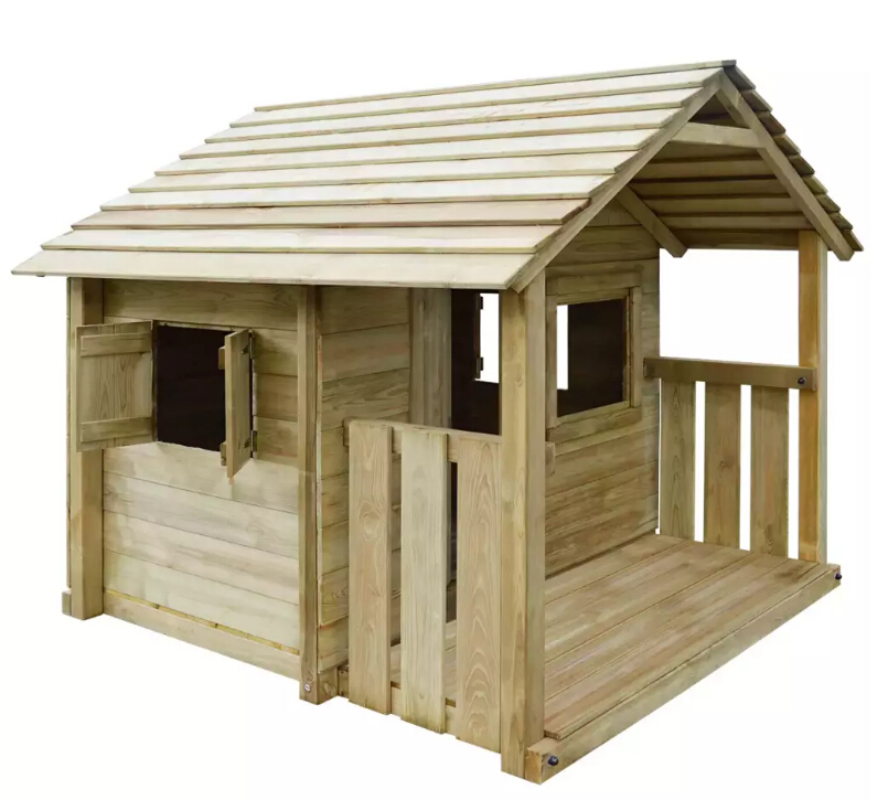 VidaXL High-Quality UV-Resistant Wooden Outdoor Playhouse With 3 Windows Durable Weather-Resistant Wooden Outdoor Playhouse