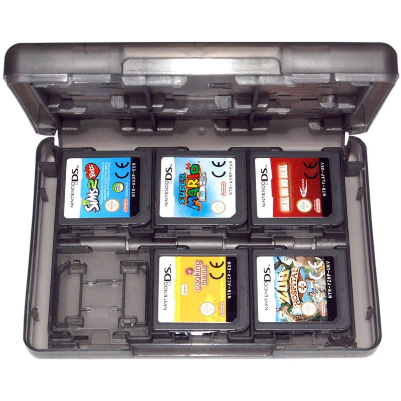Game Holder Case For 3Ds <font><b>2Ds</b></font> Ds Nintendo Cartridge 24 In 1 Travel Black Zedlabz image