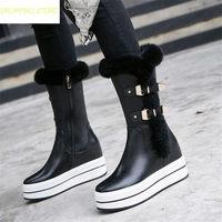 Женский, черный кожа клинья Платформа, высокий каблук ботинки до середины икры круглый носок Зимние теплые Сапоги для верховой езды длинные