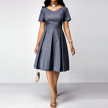 Summer Vintage Office Lady Casual Elegant Party Plus Size Women Dresses Aline Pleated African Purple Female Fashion Retro Dress