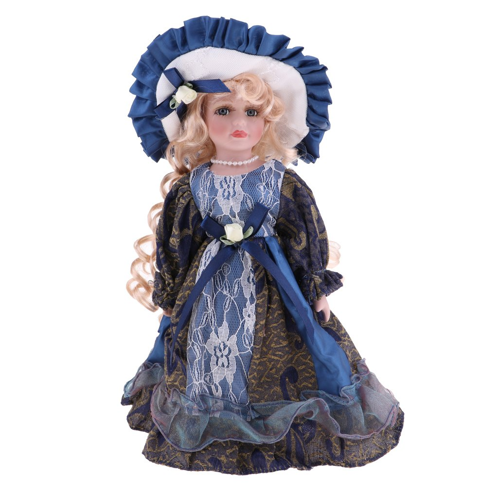 30cm Victorian Porcelain Girl Doll With Blue Dress Handmade Collection Decoration Toys Birthday Gift For Children Kids Toddler